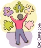 Student putting puzzle together Vector Clipart image