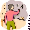 Student writing Chinese text on chalkboard Vector Clipart graphic