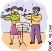 Students in music class playing the flute Vector Clip Art image