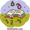 Opened book with numbers and letters Vector Clipart picture