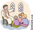 Sunday school students listening to priest Vector Clipart image