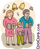 Parishioners singing songs in church Vector Clipart illustration