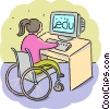 Handicapped student working with her computer Vector Clipart picture