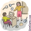 Teacher and student in computer class Vector Clipart graphic