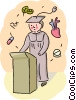 Medical graduate giving a speech Vector Clipart picture