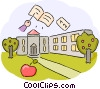 School Building with book and apple Vector Clipart picture