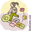 Student playing hop-scotch Vector Clipart illustration