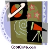 Telescope with stars and Saturn Vector Clipart picture