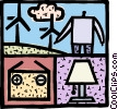 Man with wind power, battery and lamp Vector Clipart illustration