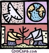 People planting a tree with dove and planet earth Vector Clip Art picture