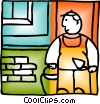 Vector Clip Art image  of a Bricklayer with trowel and