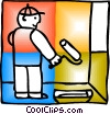 Vector Clipart picture  of a Painter with painting wall