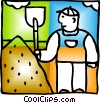 Vector Clip Art picture  of a Man with shovel and dirt