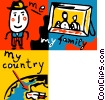 Man with his family and his country Vector Clipart illustration