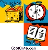 School, alarm clock and book Vector Clip Art picture