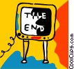 Vector Clip Art graphic  of a Television with the end