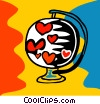 Heart globe Vector Clip Art graphic