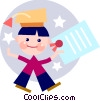 Vector Clip Art graphic  of a Graduate with his diploma