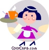 Waitress serving coffee Vector Clipart graphic