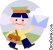 Mailman delivering mail Vector Clip Art graphic