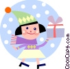 Vector Clipart image  of a Girl walking in the snow