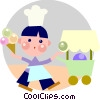 Ice cream vender Vector Clipart illustration