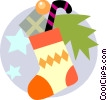 Vector Clipart picture  of a Christmas stocking with candy