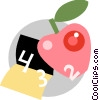 Apple and school book Vector Clipart illustration