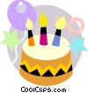 Vector Clip Art image  of a Birthday cake with balloons
