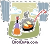 Fish frying with cooking oil Vector Clipart illustration