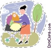 Mother with her baby in the park Vector Clipart picture