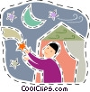 Vector Clipart graphic  of a Boy trying to catch a shooting
