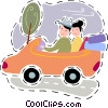 Vector Clipart image  of a Couple driving in their car