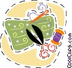 Vector Clip Art picture  of a Scissors needle and thread