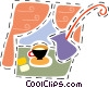 Teapot and teacups Vector Clipart illustration