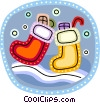 Christmas Stockings with presents Vector Clipart graphic