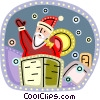 Santa going down the chimney with presents Vector Clipart illustration