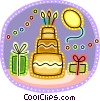 Birthday cake, presents and balloons Vector Clip Art picture