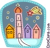 Church with shooting star Vector Clip Art image