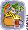 Leprechaun with rainbow, pot of gold and beer Vector Clip Art picture