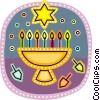 Menorah with Star of David and Dreidels Vector Clipart graphic