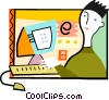 Man sending e-mail Vector Clipart illustration