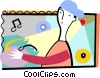 DJ spinning his music Vector Clipart picture