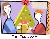 Vector Clipart illustration  of a Mother giving her son a Christmas gift