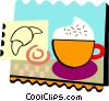 Gourmet coffee and croissant Vector Clipart picture