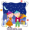 Children playing instruments on Christmas Day Vector Clip Art graphic