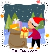 Vector Clip Art picture  of a Boy taking a present out of