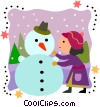 Vector Clip Art image  of a Girl building a snowman