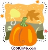 Pumpkin with leaves Vector Clip Art image