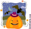 Vector Clip Art picture  of a Jack-o-lantern with flying